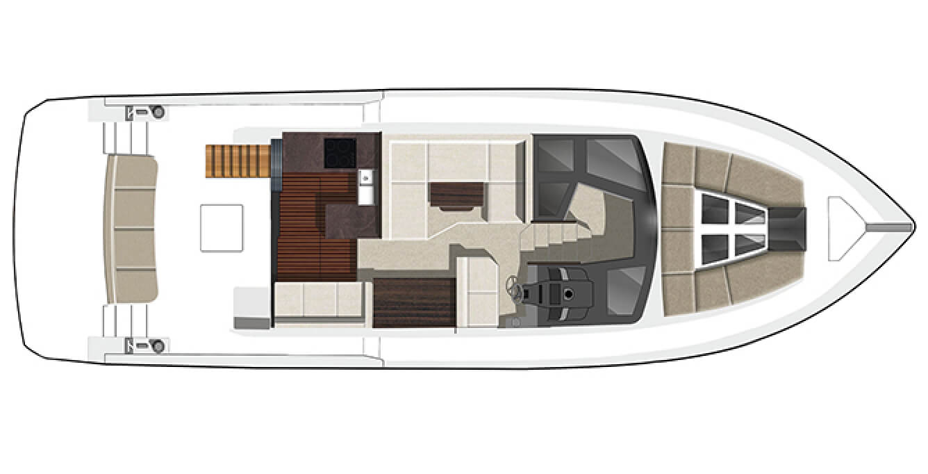 Layout of the main level on the Galeon 460 FLY yacht