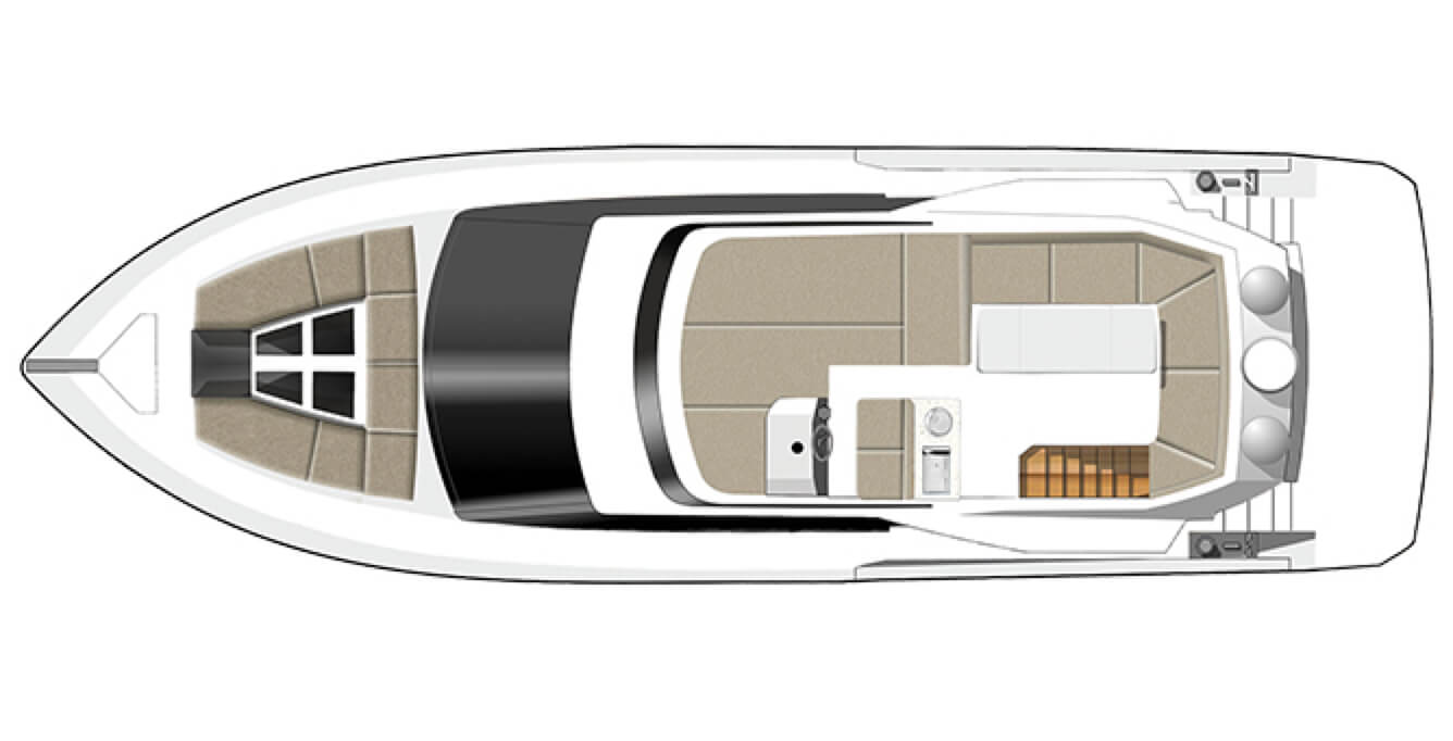 The layout of the sky deck on top of the Galeon 460 FLY yacht