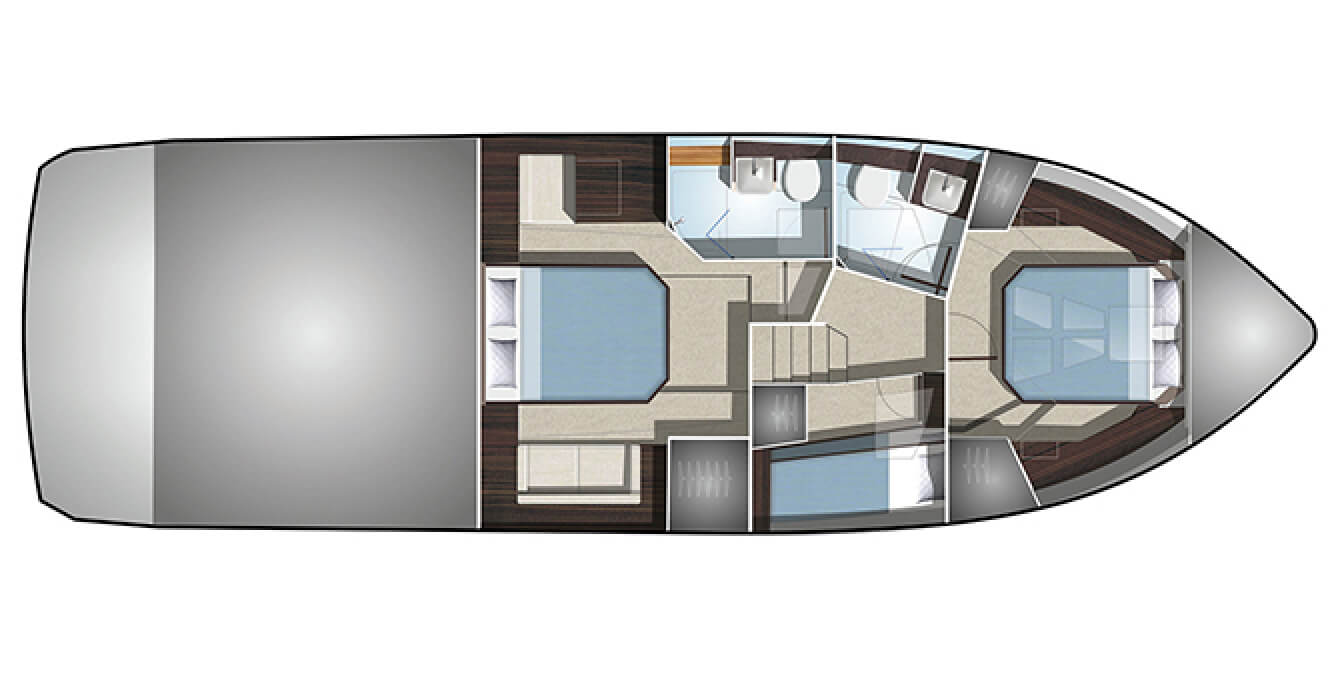 The layout of the bedrooms and bathrooms on the lowest level of the Galeon 460 FLY yacht