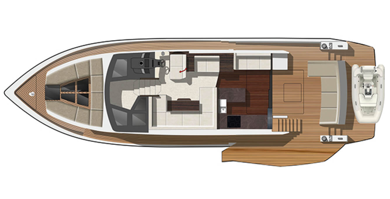 Layout of the main level on the Galeon 510 SKY yacht
