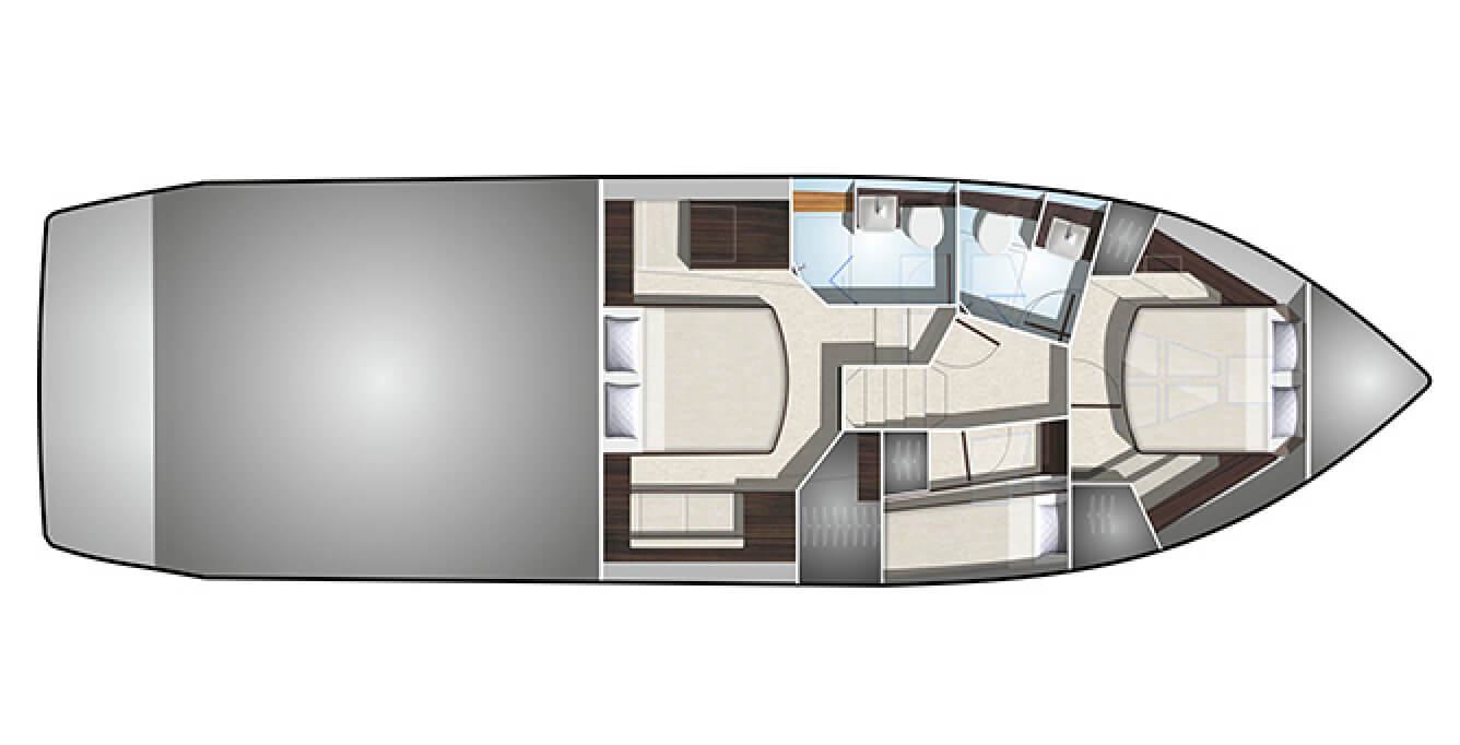 The layout of the bedrooms and bathrooms on the Galeon 510 SKY yacht