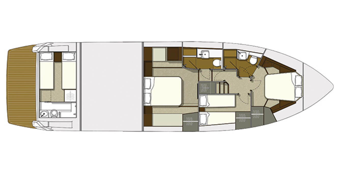 Layout of the bedrooms and bathrooms on the Galeon 560 SKY yacht