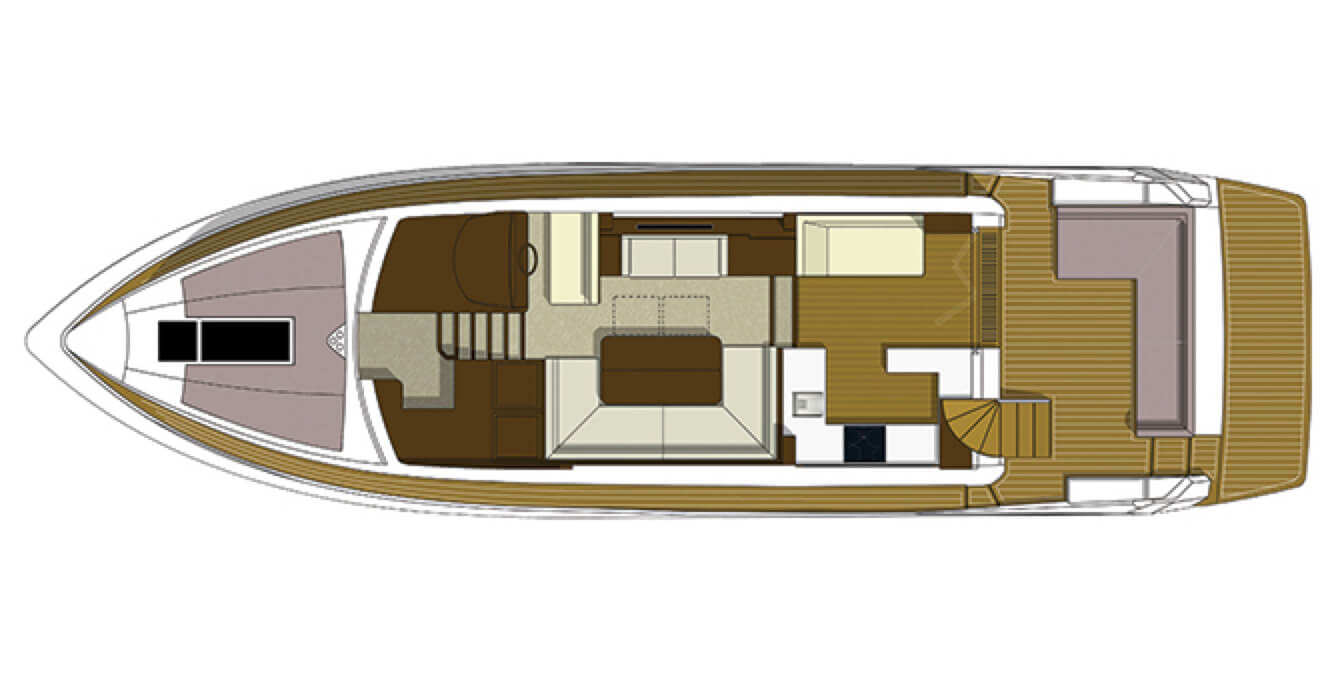 Layout of the main level of the Galeon 560 SKY yacht